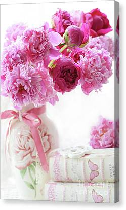 Shabby Chic Romantic Pink And Red Peonies - Peonies Romantic Floral Decor Canvas Print by Kathy Fornal