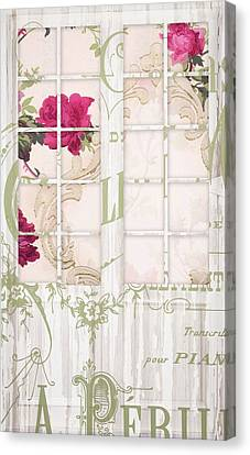 Shabby Cottage French Doors Canvas Print by Mindy Sommers