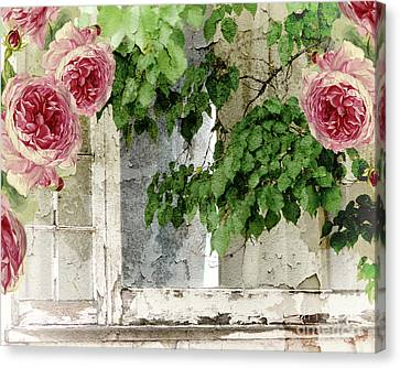 Shabby Cottage Window Canvas Print by Mindy Sommers