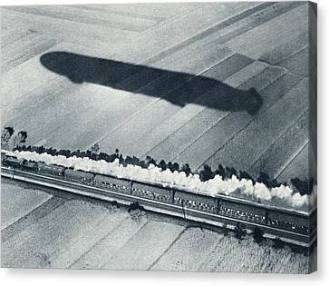 Shadow Of The Fast Zeppelin Air Ship Canvas Print by Vintage Design Pics