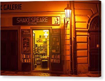 Shakespeares' Bookstore-prague Canvas Print by John Galbo