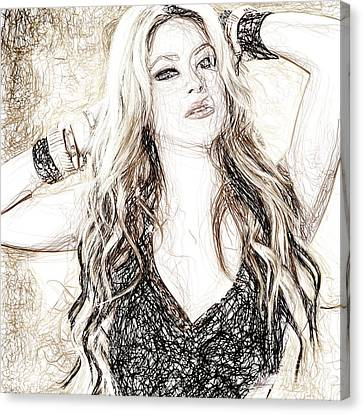 Shakira - Pencil Art Canvas Print by Raina Shah