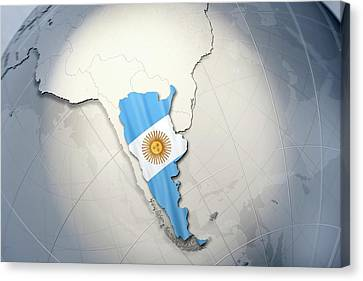 Shape And Ensign Of Argentina On A Globe Canvas Print by Dieter Spannknebel