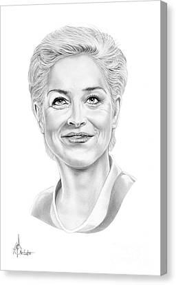 Sharon Stone Canvas Print by Murphy Elliott