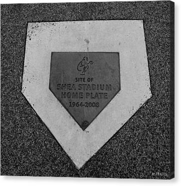 Shea Stadium Home Plate In Black And White Canvas Print by Rob Hans
