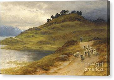 Sheep Droving In A Landscape Canvas Print by MotionAge Designs