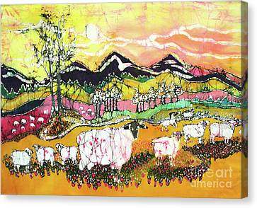 Sheep On Sunny Summer Day Canvas Print by Carol Law Conklin