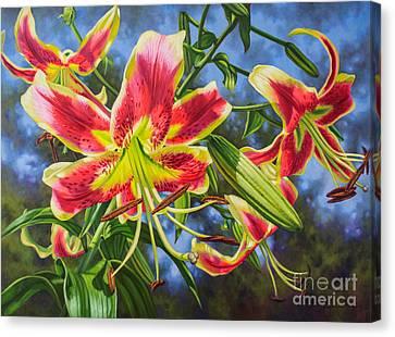 Sheherazade Lilies 1 Canvas Print by Fiona Craig