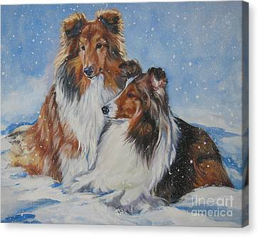 Sheltie Pair Canvas Print by Lee Ann Shepard