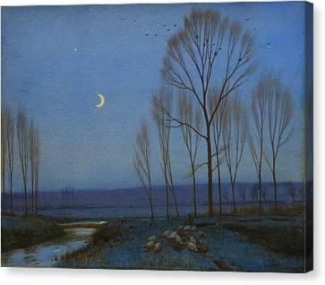 Shepherd And Sheep At Moonlight Canvas Print by OB Morgan