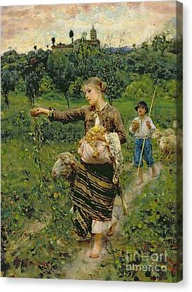 Shepherdess Carrying A Bunch Of Grapes Canvas Print by Francesco Paolo Michetti