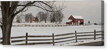 Sherfy Farm In The Snow At Gettysburg Canvas Print by Greg Dale
