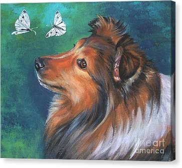 Shetland Sheepdog And Butterfly Canvas Print by Lee Ann Shepard
