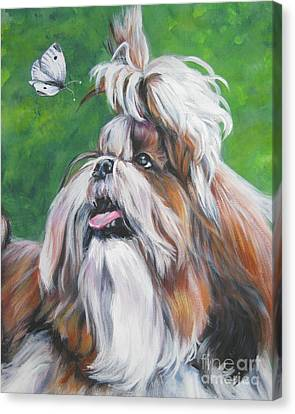 Shih Tzu And Butterfly Canvas Print by Lee Ann Shepard