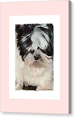 Canvas Print featuring the digital art Shih Tzu Puppy by Terry Mulligan