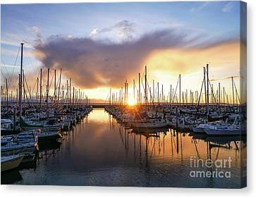 Shilshole Marina Sunset Dramatic Clouds Canvas Print by Mike Reid