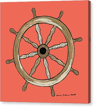 Ship Wheel Canvas Print by Karl Addison