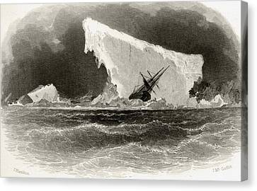 Ship Wrecked On Iceberg. Title Canvas Print by Vintage Design Pics