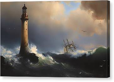 Shipping Off The Eddystone Lighthouse Canvas Print by Mountain Dreams