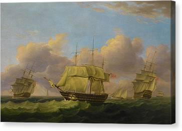 Shipping Off The Eddystone Canvas Print by Thomas Luny