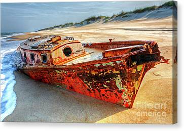 Shipwrecked Boat On Outer Banks Front Side View Canvas Print by Dan Carmichael