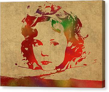 Shirley Temple Watercolor Portrait Canvas Print by Design Turnpike