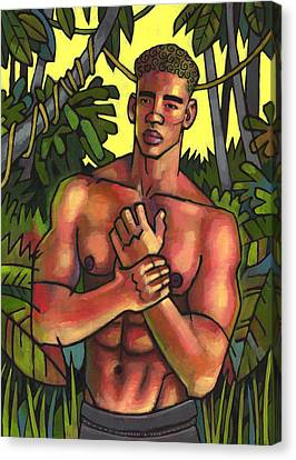 Shirtless In The Jungle Canvas Print by Douglas Simonson