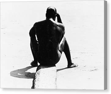 Shirtless Seated Man At Coney Island Canvas Print by Nat Herz