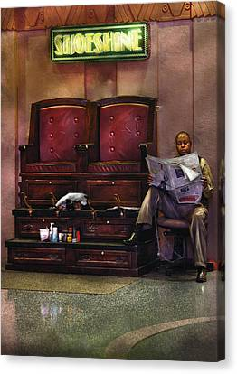 Shoes - Lee's Shoe Shine Stand Canvas Print by Mike Savad