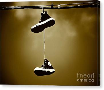 Shoes On A Wire 5 Canvas Print by Christina Stanley