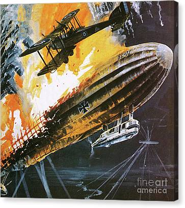Shooting Down A Zeppelin During The First World War Canvas Print by Wilf Hardy