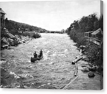 Shooting The Rapids In Maine Canvas Print by Underwood Archives