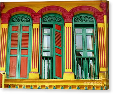 Shophouse Windows Canvas Print by Ranjini Kandasamy