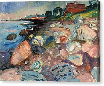 Shore With Red House Canvas Print by Edvard Munch