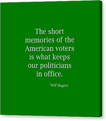 Short Memories Of American Voters 5448.02 Canvas Print by M K  Miller