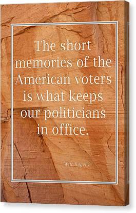 Short Memories Of American Voters 5449.02 Canvas Print by M K  Miller