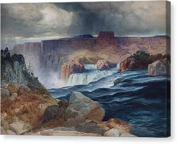 Shoshone Falls Idaho Canvas Print by Thomas Moran
