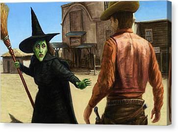 Showdown Canvas Print by James W Johnson