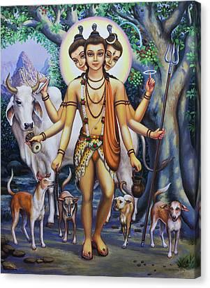 Shree Dattatreya Canvas Print by Vrindavan Das