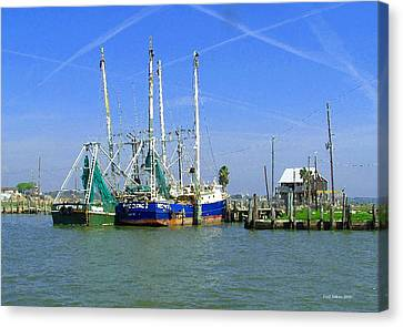 Shrimp Boats Seabrook  Canvas Print by Fred Jinkins