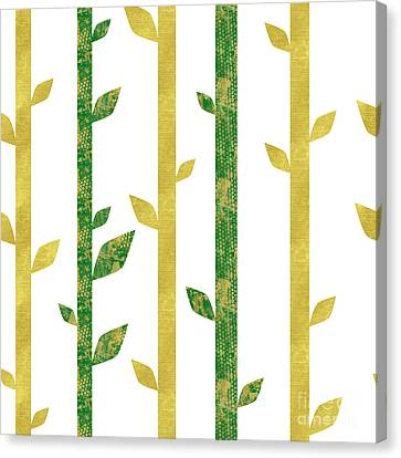 Siam, Abstract Bamboo Pattern, Gold Glitter, Dark Green Canvas Print by Tina Lavoie