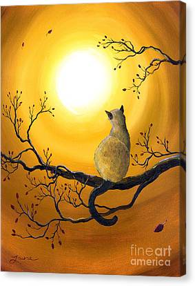 Siamese Cat In Autumn Glow Canvas Print by Laura Iverson