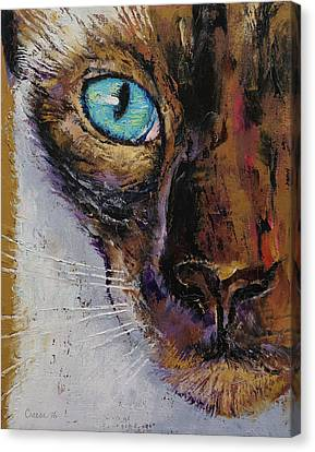 Siamese Cat Painting Canvas Print by Michael Creese