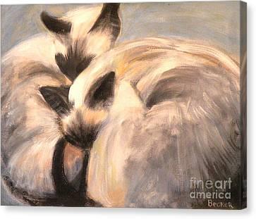 Siamese Lovers Canvas Print by Susan A Becker