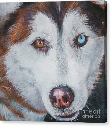 Siberian Husky Red Canvas Print by Lee Ann Shepard