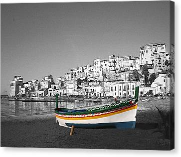 Sicily Fishing Boat  Canvas Print by Jim Kuhlmann