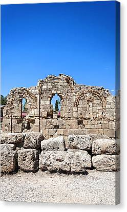 Side Ancient Temple Ruins Canvas Print by Antony McAulay