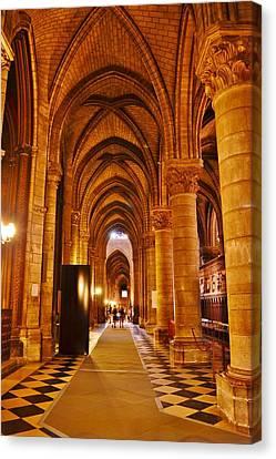 Side Hall Notre Dame Cathedral - Paris Canvas Print by Kim Bemis