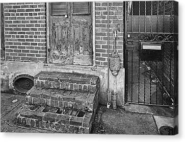 Side Street Entrances - French Quarter - New Orleans - B/w Canvas Print by Greg Jackson