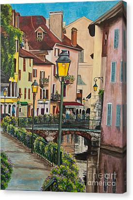 Side Streets In Annecy Canvas Print by Charlotte Blanchard